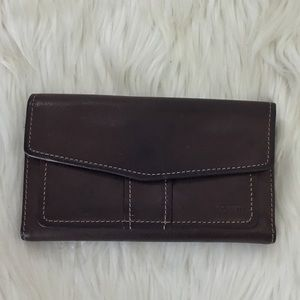 FOSSIL large leather check wallet bifold